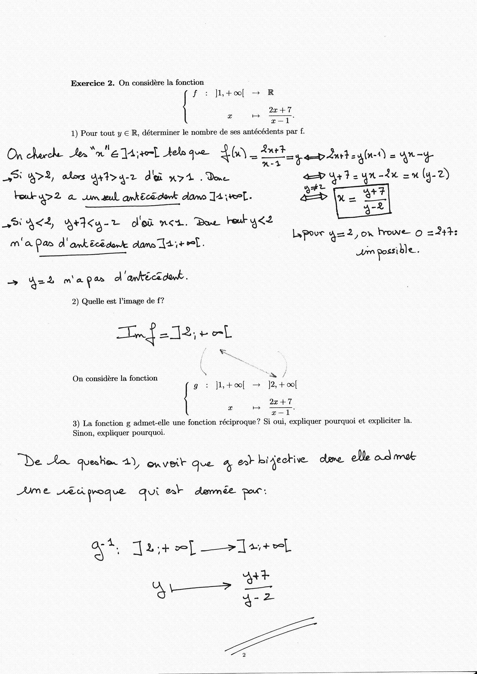 Examen du 9 janvier 2006 1 Fonction réciproque 2 Intégrales